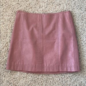 Free people high waisted leather skirt pink mauve